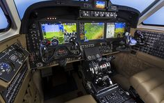 Photography of the Beechcraft King Air 350 cockpit with the Rockwell Collins Pro Line Fusion integrated flight deck. Beechcraft Delivery Hangar (BEC) Wichita, KS  USA