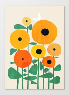 I'm sharing a collection of easy acrylic canvas painting ideas for beginners. You'll find a collection of sunset paintings, flower paintings, mini canvas paintings, and more. Painting Inspiration, Art Inspo, Motif Art Deco, Bee Art, Flower Art, Simple Flower Painting, Illustration Art, Sunflower Illustration, Floral Illustrations