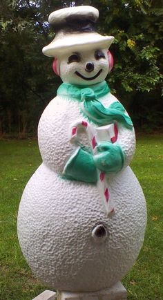 "VTG 1970's BLOW MOLD 40"" HIGH SNOWMAN UNION PRODUCT CHRISTMAS LIGHTED YARD DECOR"