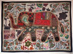 HANDMADE ELEPHANT BOHEMIAN PATCHWORK WALL HANGING EMBROIDERED TAPESTRY INDIA E82…