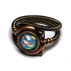 Steampunk Ring, created opal