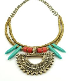 Handcrafted African Brass Turquoise Spike Tribal Necklace by IsabellaRaeJewelry, $48.00