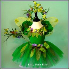Fairy Costume - Woodland Faerie Flower Girl with Butterflies - childs size range 8 to 10