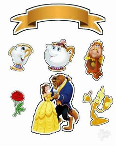 Beauty and the Beast Free Printable Cake Toppers. - Oh My Fiesta! in english Beauty And The Beast Cupcakes, Beauty And The Beast Party, Beauty And The Best, Belle Beauty And The Beast, Beauty And The Beast Cake Birthdays, Diy Cake Topper, Cake Toppers, Disney Printables, Free Printables