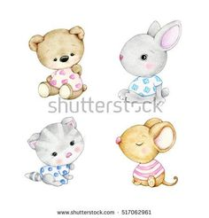 Collections of baby animals- bear, bunny, kitten, mouse Baby Animal Drawings, Cartoon Drawings, Cute Drawings, Cartoon Kids, Cute Cartoon, Cartoon Baby Animals, Cute Teddy Bears, Baby Art, Watercolor Animals