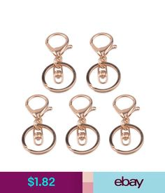 Jewelry Findings 5X Gold Lobster Clasp Trigger Clip Split Ring Swivel Key Chain Accessory #ebay #Home & Garden