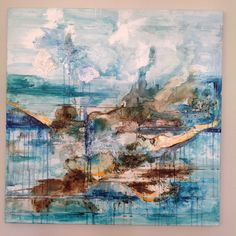 1 metre squared, mixed media and acrylic on canvas. Abstract landscape by Sarah Cox FINE ART. Contact via Facebook and Instagram for a list of works/prices.