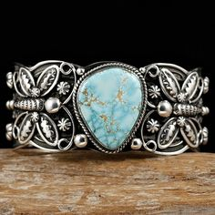 Cuff | Darrell Cadman (Navajo). Sterling silver and #8 Turquoise. Stunning.