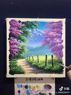 Small Canvas Paintings, Easy Canvas Art, Small Canvas Art, Acrylic Painting Canvas, Art Painting Gallery, Painting & Drawing, Garden Painting, Canvas Painting Tutorials, Watercolor Art