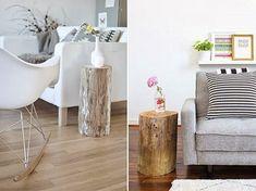 DIY tronco de madera, manualidad con tronco de madera, tutorial convertir tronco de madera en mesa de centro