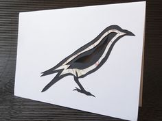 Hand-Cut Crow Greetings Card via The Red Corvid. £4.50 http://theredcorvid.tictail.com/product/hand-cut-crow-greetings-card ~ Click through for more info ~