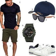 Lässiger Herren-Style mit Amaci&Sons Shirt, Flexfit Cap, Shinu Sonnenbrille, Casio G-Shock, weißen Bugatti Schuhen und Khaki Shorts.