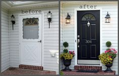 DIY:  Front Door Make-Over.  Removed screen, changed lights, painted door black, added new hardware added some color with flowers in planters.
