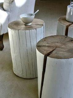DIY Idee   Ein Bemalter Holzstamm Als Tisch