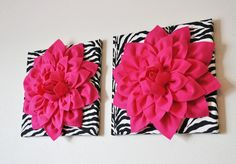 ***Would be cute design to try and make pillows like*** TWO Wall Flowers -Hot Pink Dahlia Flowers on Black and White Zebra Print 12 Canvas Wall Art- Baby Nursery Wall Decor- via Etsy Flower Wall, Wall Flowers, Dahlia Flowers, Purple Flowers, Pink Roses, Zebra Decor, Damask Decor, White Wall Decor, Pink Walls