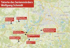 Karte Tatorte des Serienmörders Wolfgang Schmidt - Wolfgang Schmidt (Serienmörder) – Wikipedia