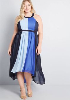 Feel like royalty in this airy, colorblocked maxi - part of our ModCloth namesake label! Featuring roomy pockets, a gathered waist, and an elegant high-low. Plus Size Wedding Guest Dresses, Plus Size Party Dresses, Plus Size Outfits, Cute Dresses, Vintage Dresses, Dresser, Retro Dress, Modcloth, Plus Size Fashion