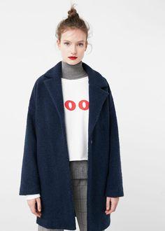Lapels wool coat - Coats for Woman   MANGO USA