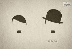 Creative and Effective Minimalist Print - Hut Weber: Hitler vs. Chaplin,it's the hat - Advertising Agency: Serviceplan Hamburg / München, Germany Creative Directors: Axel Thomsen, Alexander Schill Art Director: Jonathan Schupp Copywriter: Francisca Maass Creative Advertising, Print Advertising, Advertising Agency, Funny Advertising, Funny Commercials, Funny Ads, Funny Memes, Graphic Design Blog, Icon Design