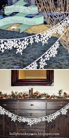 Holly Brooke Jones: DIY Felt Snowflake banner Tutorial & Pattern - DIY and Crafts Winter Diy, Winter Christmas, Christmas Holidays, Christmas Decorations, Christmas Ornaments, Xmas, Diy Christmas Banner, Room Decorations, Holiday Decorating