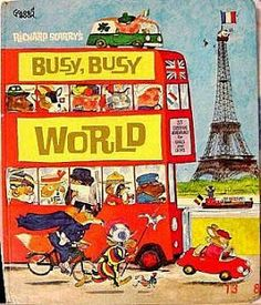Richard Scarry - Busy, Busy World - one of my favorite childhood books! Richard Scarry, Good Books, My Books, Delphine, Little Golden Books, My Childhood Memories, 1980s Childhood, Sweet Memories, Vintage Children's Books