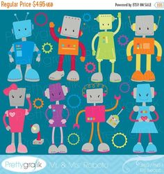 80% OFF SALE robot clipart commercial use, vector graphics, digital clip art, digital images - CL520
