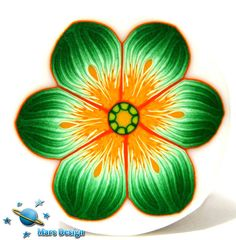 Green orange flower cane by Marcia - Mars design, via Flickr