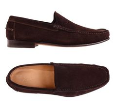 ... / KITON NAPOLI Handmade Dark Chocolate Brown Suede Loafers Shoes NEW Shop…