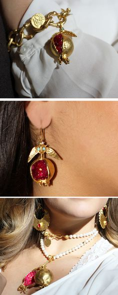 The pomegranate is one of the world's oldest foods, dating back as far as 4000 B.C. It has symbolic and historical significance in many cultures, and is today a symbol of prosperity, ambition, and fertility.  We took that as inspiration and made beautiful handmade pomegranate jewelry.