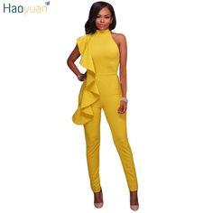 One Shoulder Jumpsuits 2 colors Black, Yellow