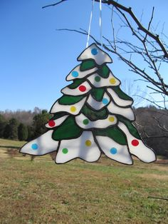 CHRISTMAS TREE SUNCATCHER  Stained Glass by WindsongGlassStudio