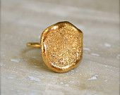 Large Gold Textured Ring