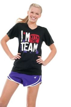 """""""With the Team"""" Black V-Neck Tee #cheer #cheerleading    @Kristi Landon Caldwell  these would be cute for the parents to wear at comps!"""