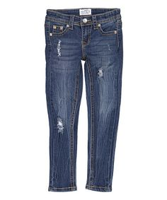 Look what I found on #zulily! Medium Blue Distressed Premium Denim Jeans - Girls by miniMOCA #zulilyfinds