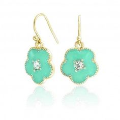 Bling Jewelry Crystal Aquamarine Color Clover Flower Dangle Earrings Gold Plated