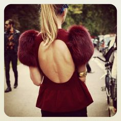 Plum Peplum Scoop Back + Puff Fur Sleeves