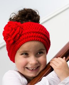 Lady In Red Crocheted Headband Sizes from preemie to adult