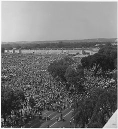 Civil Rights March on Washington, D.C. [Aerial view of the crowd of marchers on the mall and street.], 08/28/1963. by The U.S. National Archives