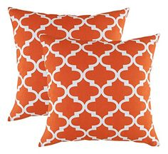 TreeWool Cotton Canvas Trellis Accent Decorative Throw Pillowcases Pack of 2 Cushion Covers 18 x 18 Inches California Orange  White -- Find out more about the great product at the image link.