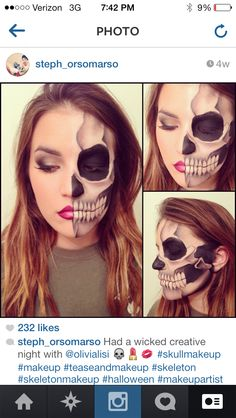 Halloween Skeleton makeup, half Skelton half glamour, Smokey Eye, Skull, Skeletal, Scary, Creepy, Makeup Artist, MUA