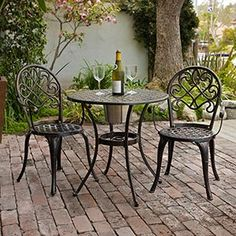 The perfect  Bistro set at Costco for a fabulous price.  $199.00 the set of 3-pieces.   for this price you can get two for the back yard and another for the Front yard.  Love These. ad a soft Throw pillow on the seat.