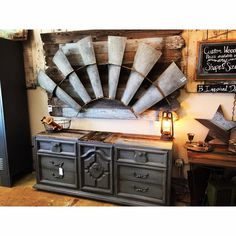 Antique Windmill Wall Art - Mounted on Chippy Reclaimed Wood - Hangs above beautiful chest of drawers updated with our signature reclaimed wood top! http://www.binspireddesigns.net http://www.facebook.com/binspireddesigns