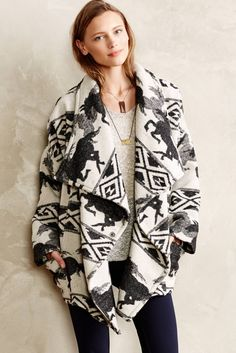 Mix it up with a patterned wrap jacket for fall.