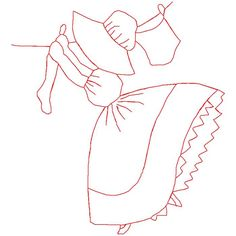 Redwork hangingclothes