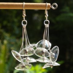Clear Mycena Earrings Made From Recycled Plastic / plastic, PET, wire, metal beads Plastic Bottle Crafts, Plastic Jewelry, Recycle Plastic Bottles, Plastic Plastic, Earring Crafts, Jewelry Crafts, Recycling, Bottle Jewelry, Do It Yourself Jewelry
