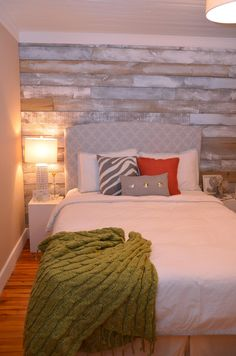 After creating our faux reclaimed wood accent wall, shown here , we pressed the pause button on any bedroom updates. It& still a huge work. Bedroom Wall, Master Bedroom, Bedroom Decor, Bedroom Ideas, Wall Beds, Bedroom Rustic, Reclaimed Wood Accent Wall, Distressed Wood Wall, Distressed Furniture