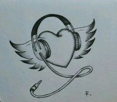 Music drawings ideas 49 New ideas Girl Drawing Sketches, Art Drawings Sketches Simple, Pencil Art Drawings, Drawing Ideas, Cute Love Drawings, Music Drawings, My Drawings, Tattoos, Tattoo Music