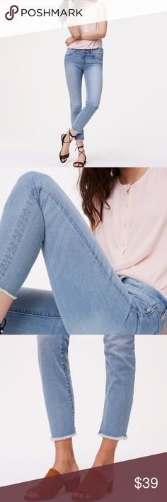Modern Frayed Skinny Crop Jeans in Authentic Light Modern Frayed Skinny Crop Jeans in Authentic Light Indigo Wash, only worn once LOFT Jeans