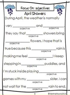 Wacky Words Parts of Speech practice for SPRING! $ So fun and engaging!