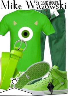 This Mike Wazowski outfit is great for guys and gals. | Disney Fashion | Disney Fashion Outfits | Disney Outfits | Disney Outfits Ideas | Disneybound Outfits |  Monsters Inc. Outfit | Monsters University Outfit |
